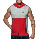 ADDICTED Sport HOODIE TANK retro AD673 farbiges Paneel in rot
