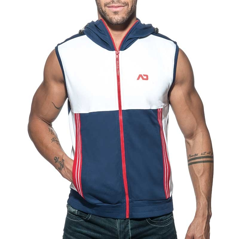 ADDICTED Sport HOODIE TANK retro AD673 colored panel in dark blue