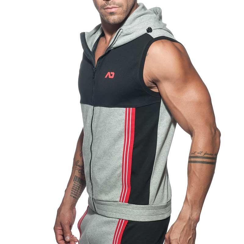 ADDICTED Sport HOODIE TANK retro AD673 farbiges Paneel in grau