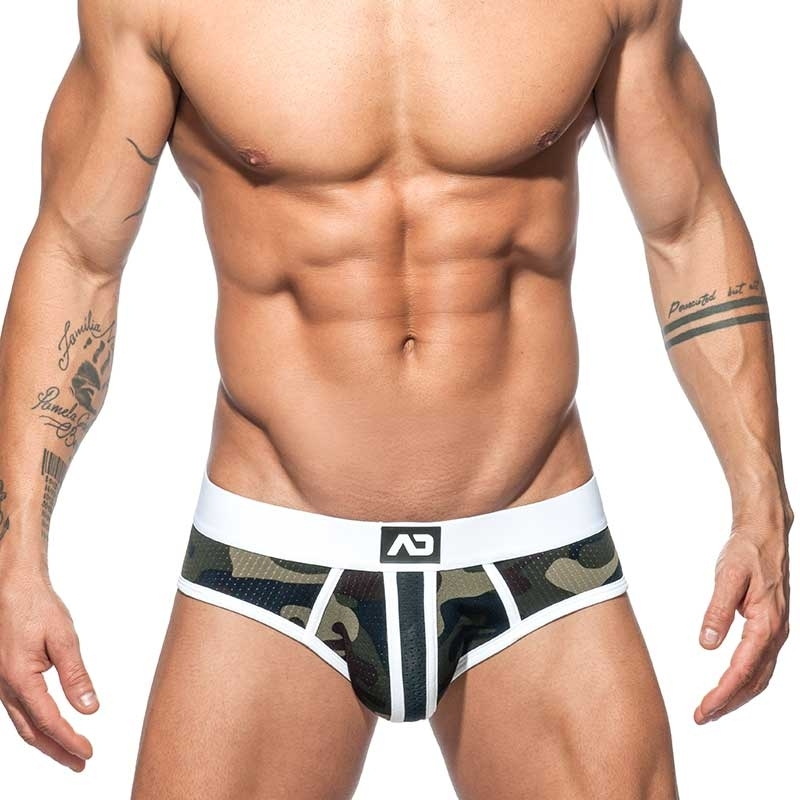 ADDICTED BRIEF camouflage mesh AD764 stripes in white