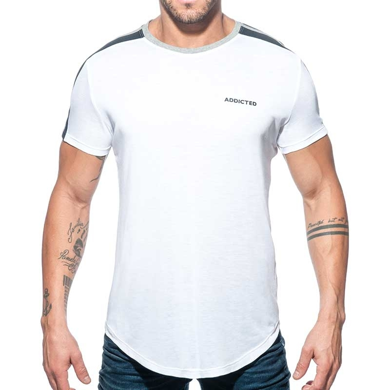 ADDICTED T-SHIRT long AD778 shoulder stripes in white