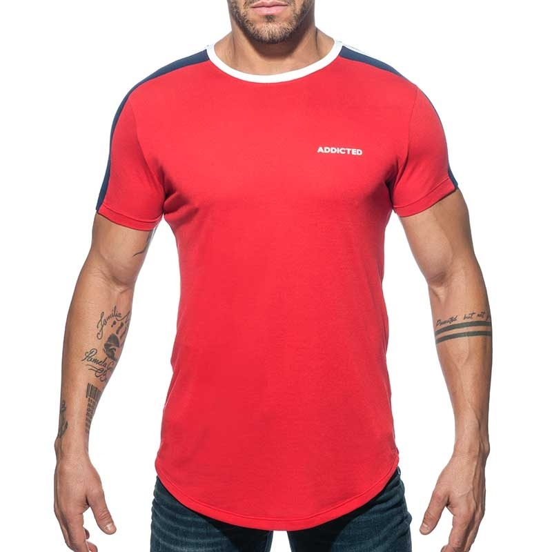 ADDICTED T-SHIRT lang AD778 Schulter Streifen in rot