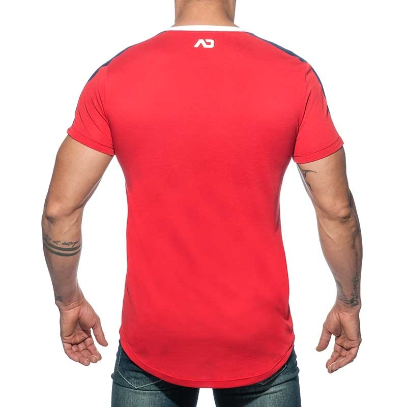 ADDICTED T-SHIRT long AD778 shoulder stripes in red