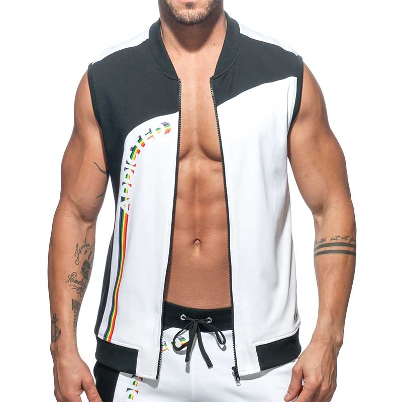 ADDICTED SPORTJACKE TANK street AD762 Regenbogen in weiss