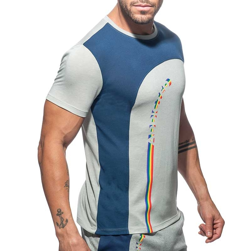 ADDICTED T-SHIRT street AD769 Regenbogen in grau