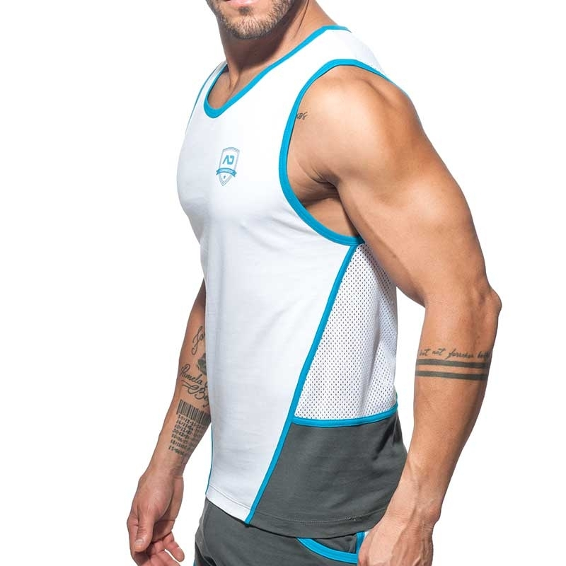 ADDICTED TANKTOP Schild AD755 der Fels mit Netz in grau-charcoal