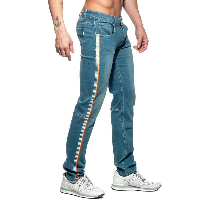 ADDICTED JEANS PANT rainbow AD747 low waistband in blue