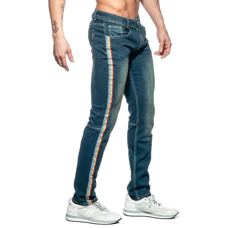 ADDICTED JEANS PANT rainbow AD747 low waistband in dark blue