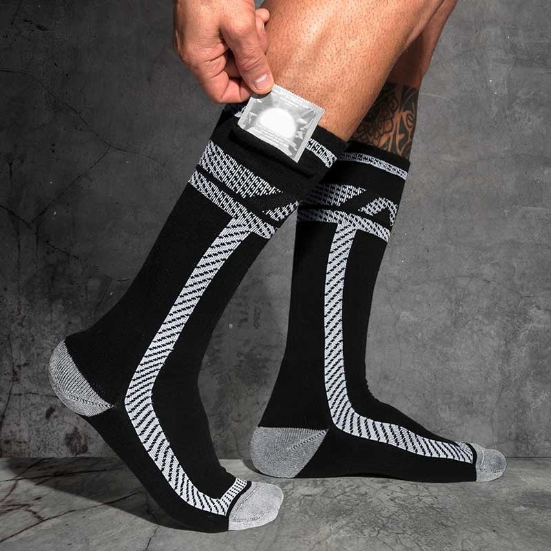 AD-FETISH short STOCKING ADF109 with pocket in code white