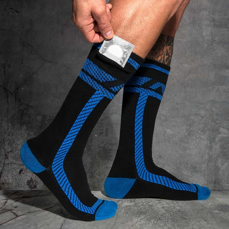 AD-FETISH short STOCKING ADF109 with pocket in code blue