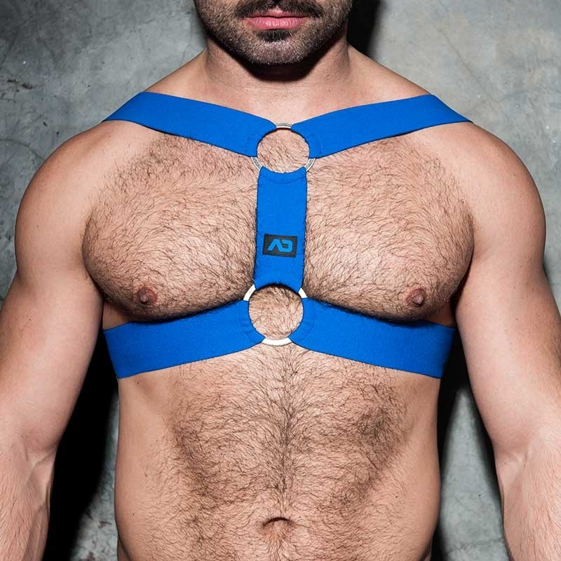 AD-FETISH HARNESS elastic ADF116 double ring in blue