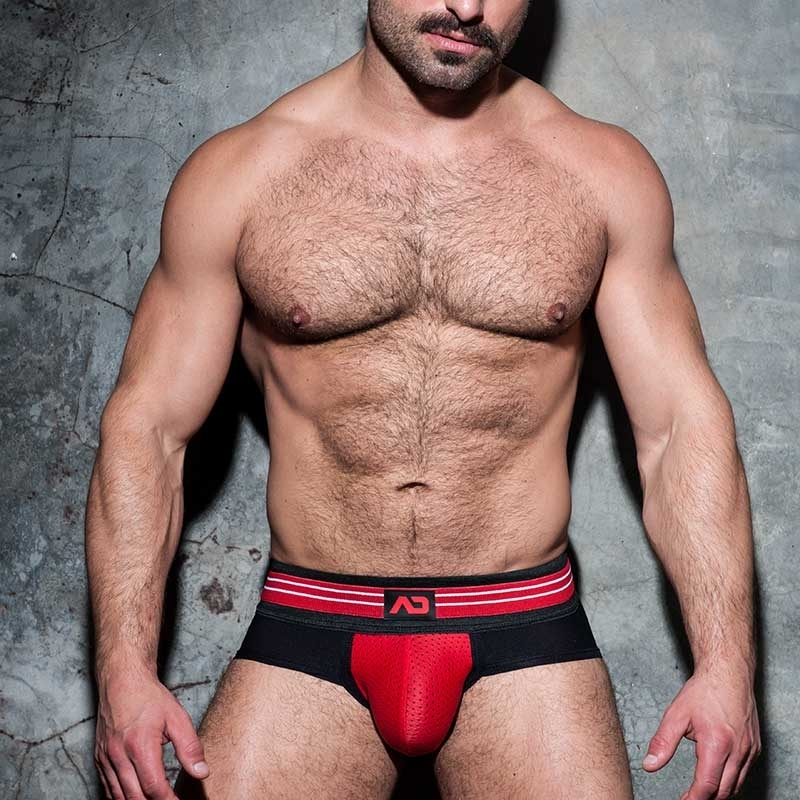 ADDICTED BRIEF Stripe ADF112 mesh in red