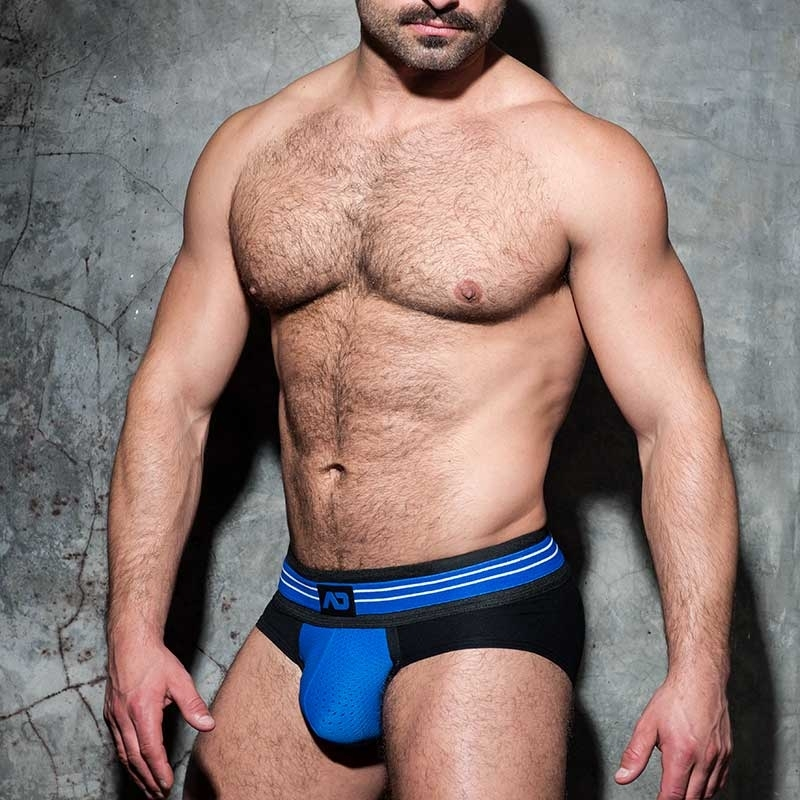 ADDICTED BRIEF Stripe ADF112 mesh in blue
