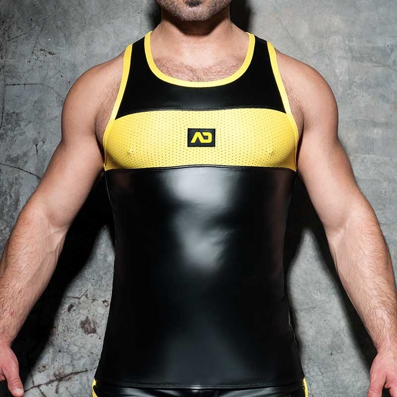 AD-FETISH wet TANK TOP combi ADF80 mesh in yellow