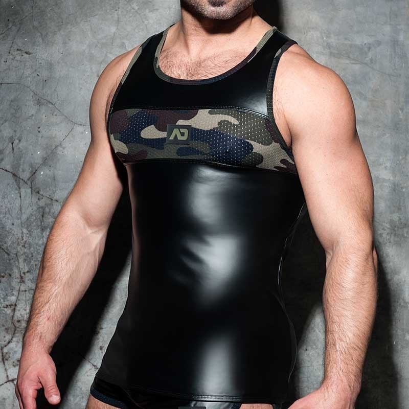AD-FETISH wet TANK TOP combi ADF80 camouflage mesh in blue