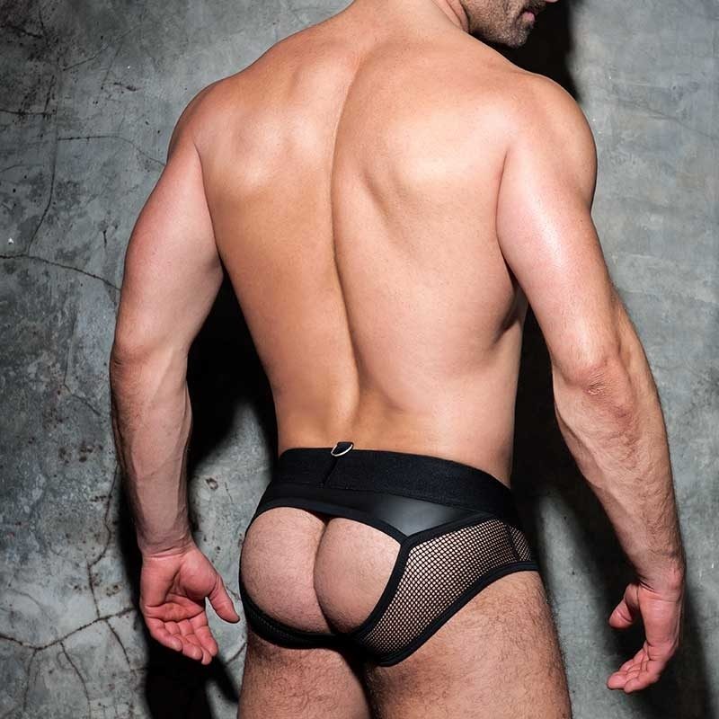 AD-FETISH wet backless BRIEF mesh ADF77 Carabiner in black