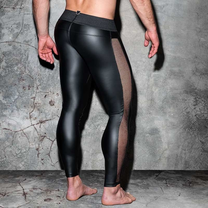 AD-FETISH wet LEGGINGS Netz ADF107 Karabiner in schwarz