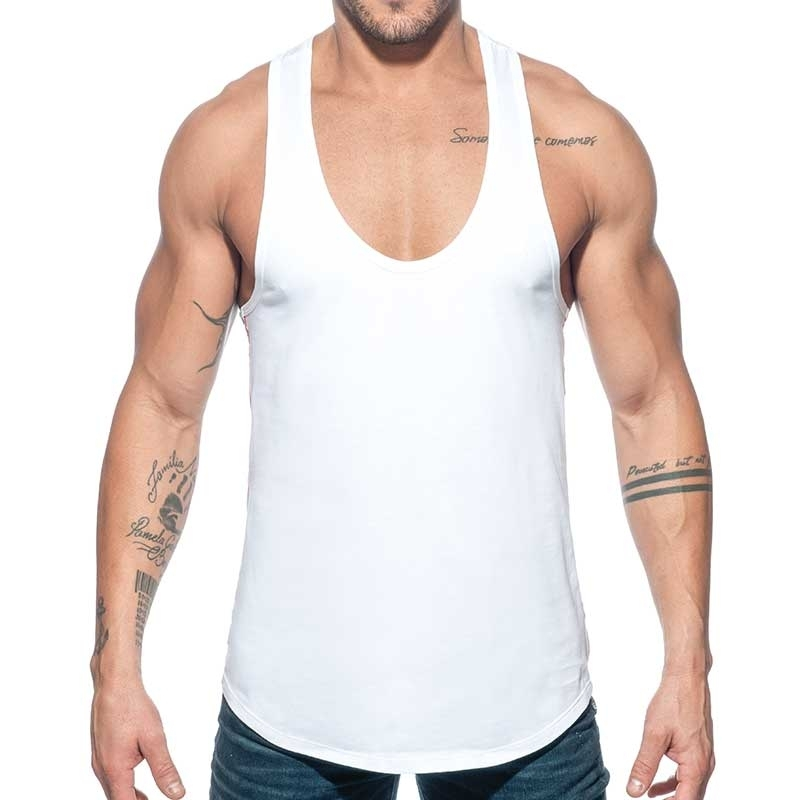 ADDICTED TANKTOP Muskelshirt AD777 Flaggen style in weiss