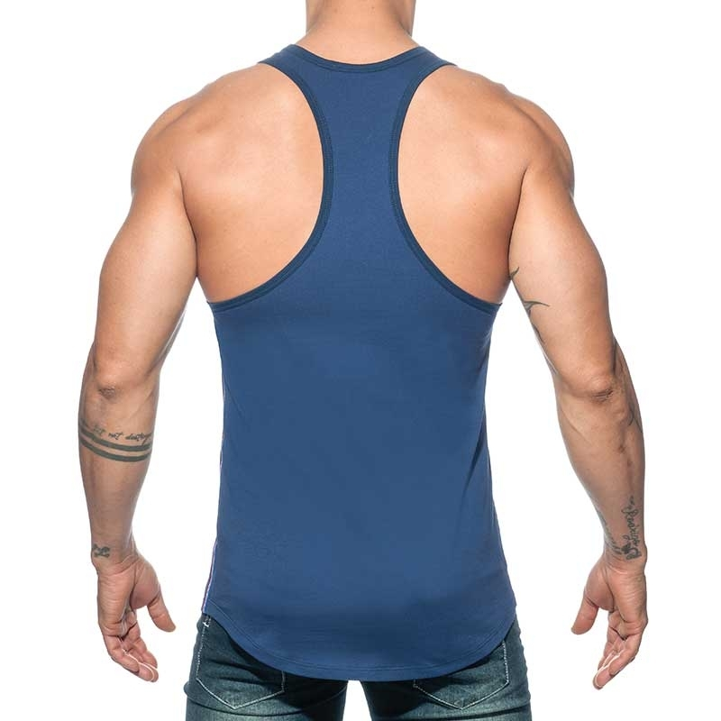 ADDICTED TANK TOP Muscle shirt AD777 flag style in dark blue
