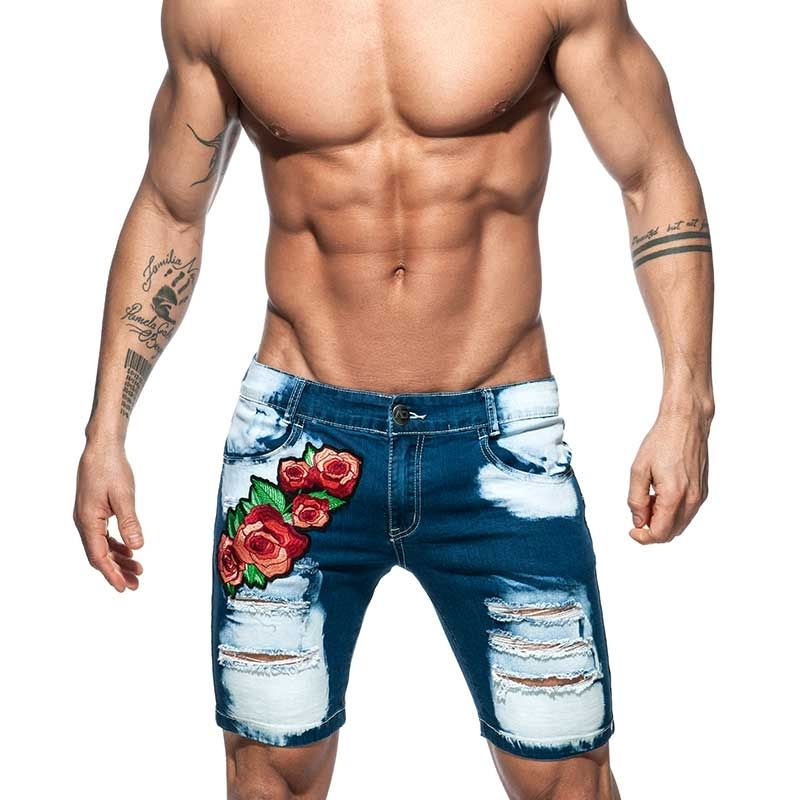 ADDICTED Jeans SHORTS Rose AD791 extrem used look dunkelblau