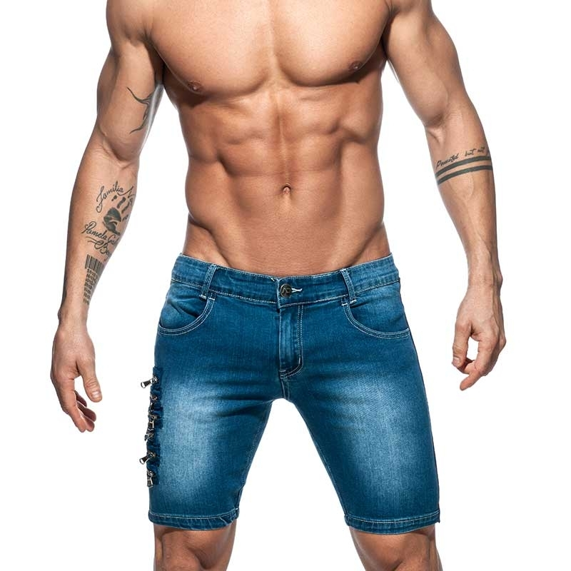 ADDICTED Jeans SHORTS zippers Design AD792 with army stripes in dark blue