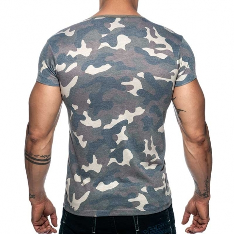 ADDICTED T-SHIRT used AD800 camouflage in oliv green