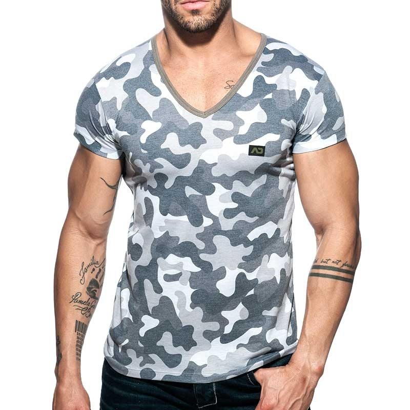 ADDICTED T-SHIRT used AD800 camouflage in grau