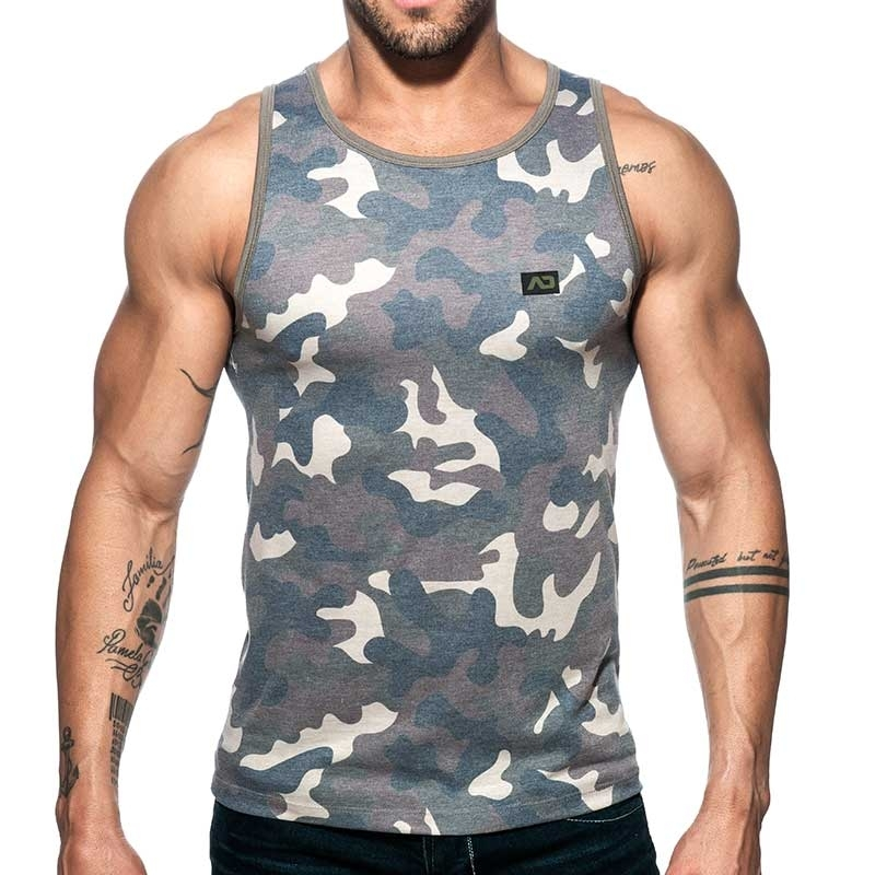ADDICTED TANK TOP used AD801 camouflage in oliv green