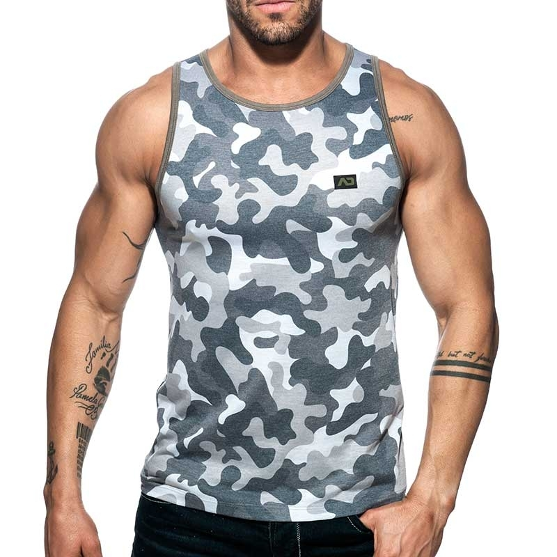ADDICTED TANK TOP used AD801 camouflage in grey