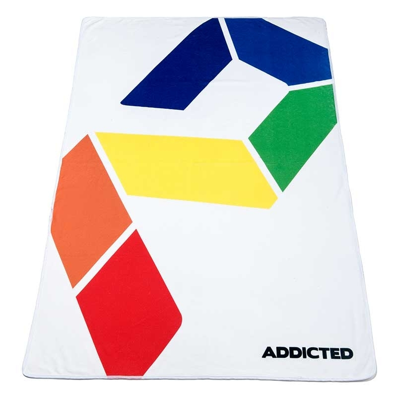 ADDICTED BEACH TOWEL Rainbow AD717 in white