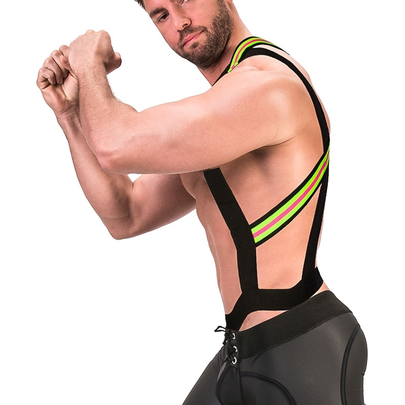 BARCODE Berlin HARNESS holster 91672 bondage in neon yellow with pink