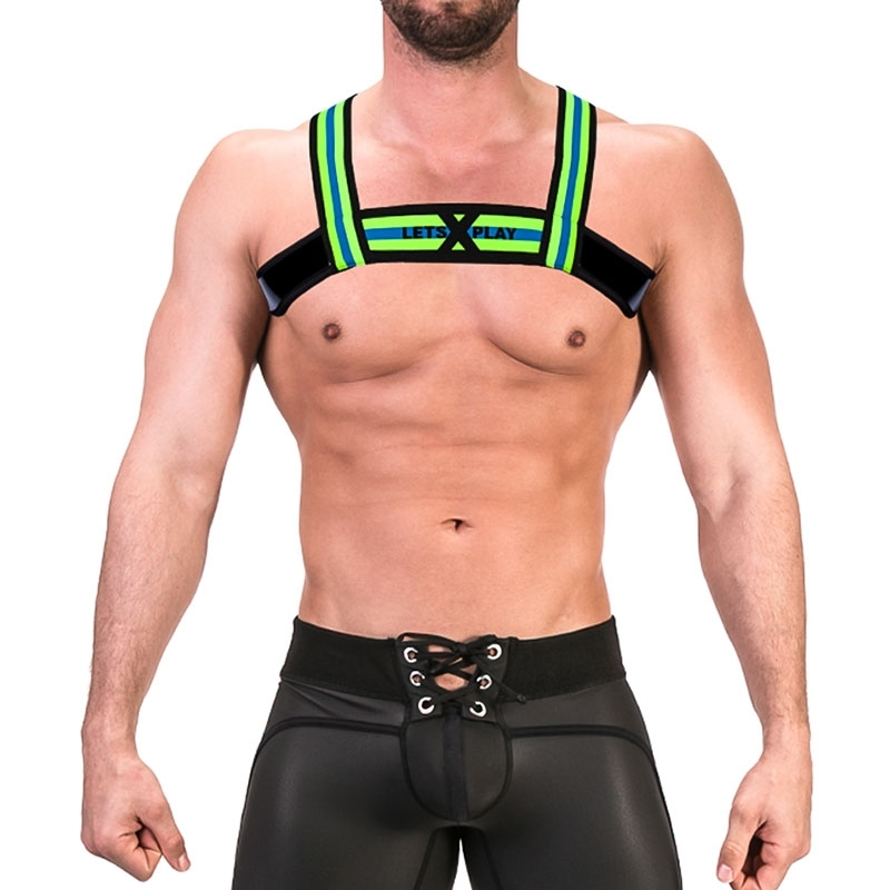 BARCODE Berlin wet HARNESS top 91677 thong in neon green