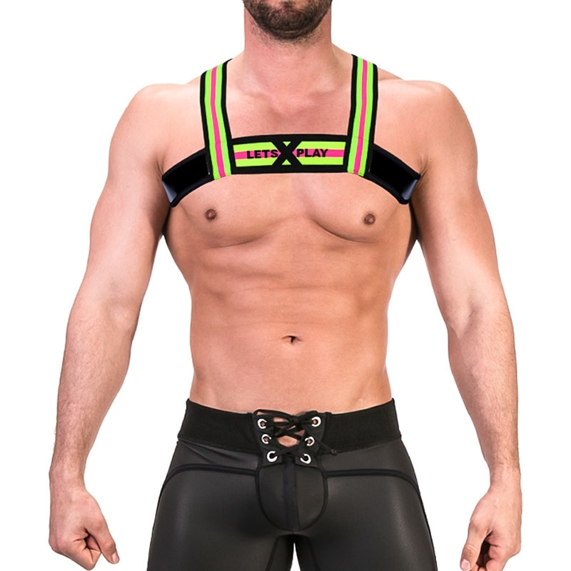 BARCODE Berlin wet HARNESS top 91677 Riemen in neon gelb mit pink