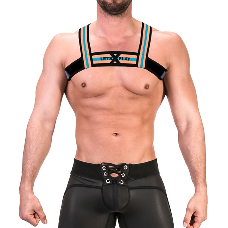 BARCODE Berlin wet HARNESS top 91677 thong in orange