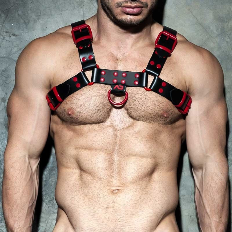 AD-FETISH Leather HARNESS ADF119 Color code in red