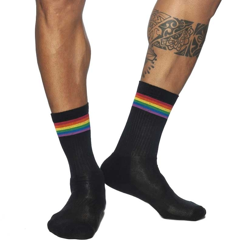 ADDICTED short STOCKING rainbow AD839 in black