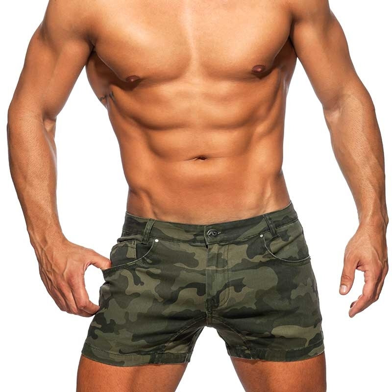 ADDICTED Jeans SHORTS AD829 in camouflage oliv