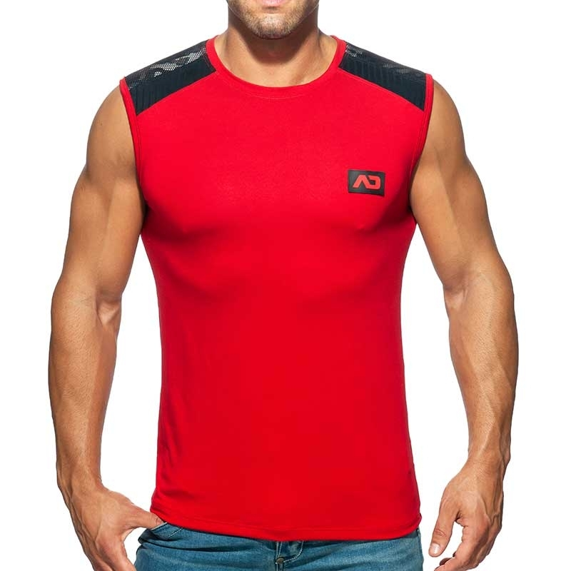ADDICTED TANK TOP Army mesh AD785 in red