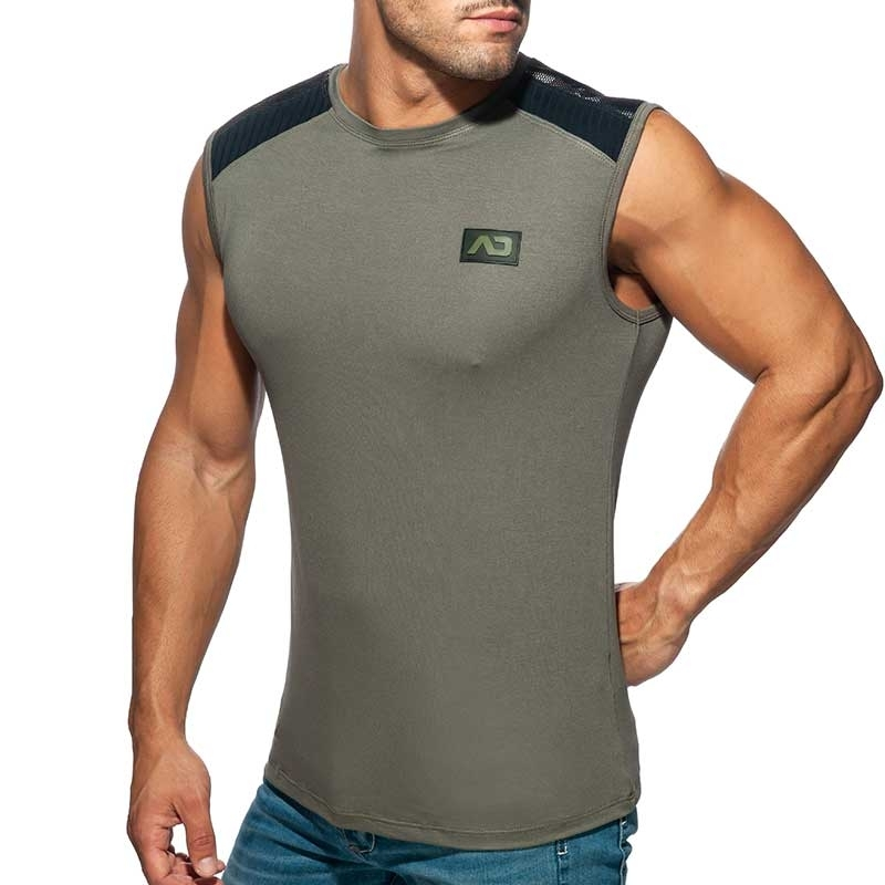 ADDICTED TANKTOP Armee Netz AD785 in grau charcoal