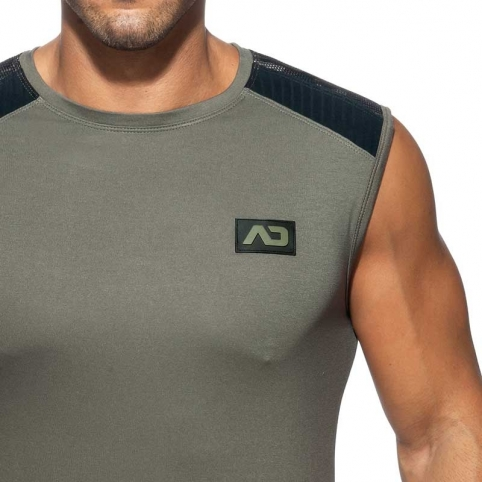 ADDICTED TANK TOP Army mesh AD785 in grey charcoal