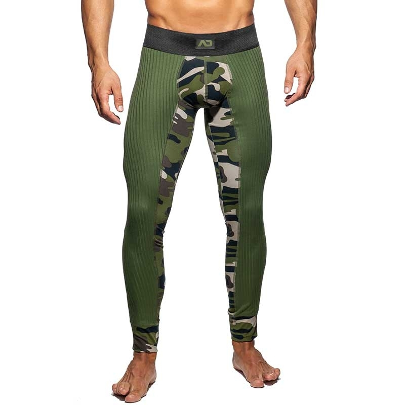 ADDICTED LEGGINGS fine rib AD781 camouflage in oliv green