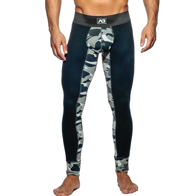 ADDICTED LEGGINGS fine rib AD781 camouflage in anthracite