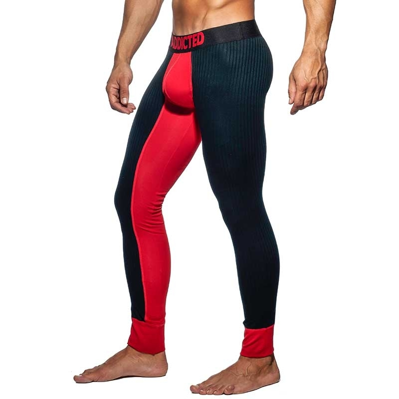 ADDICTED LEGGINGS fine rib AD780 contrast in red