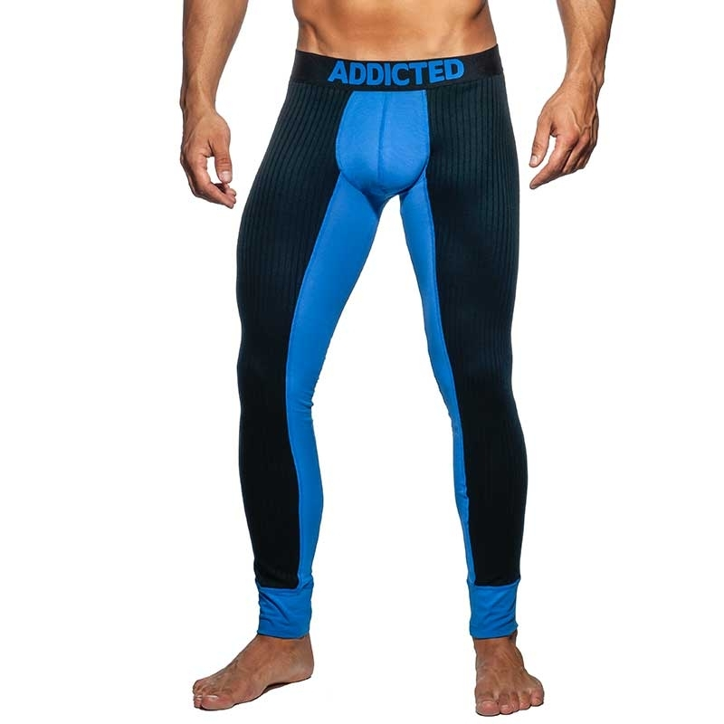 ADDICTED LEGGINGS Feinripp AD780 Kontrast in blau