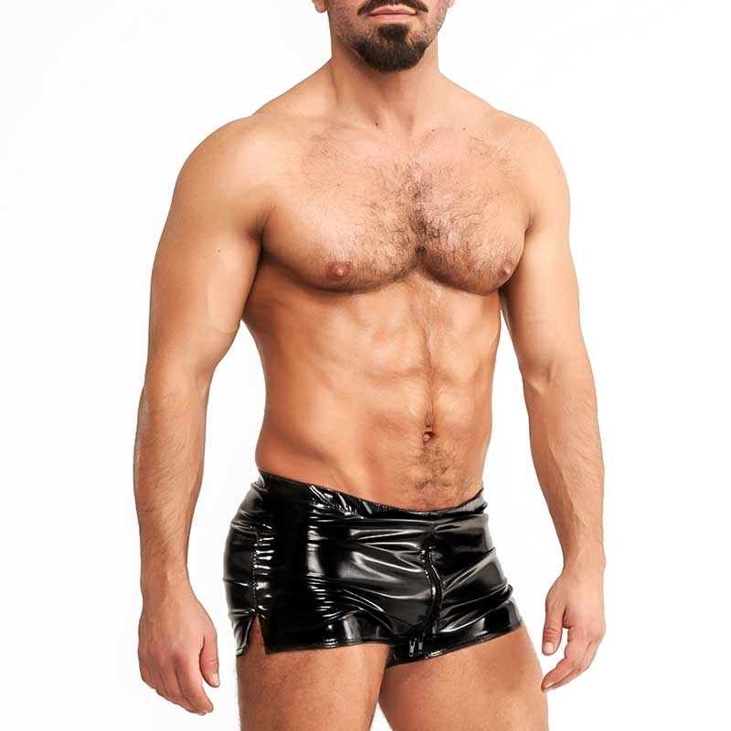Mr. RIEGILLIO vinyl SHORTS zipper-2-way R13 in black