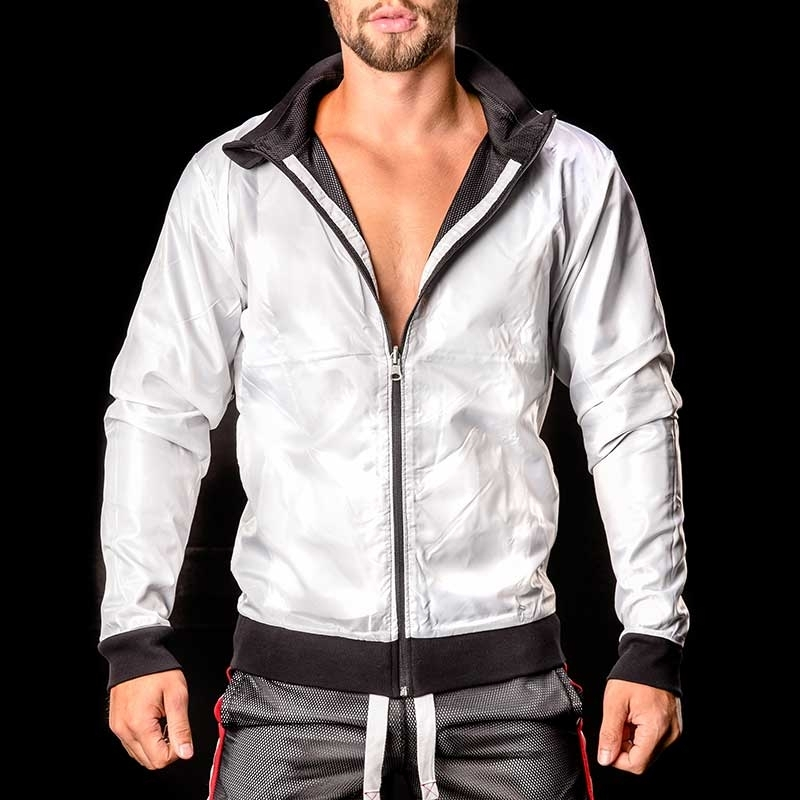 BARCODE Berlin pvc JACKE WET-MESH Double Face Ivo black-white