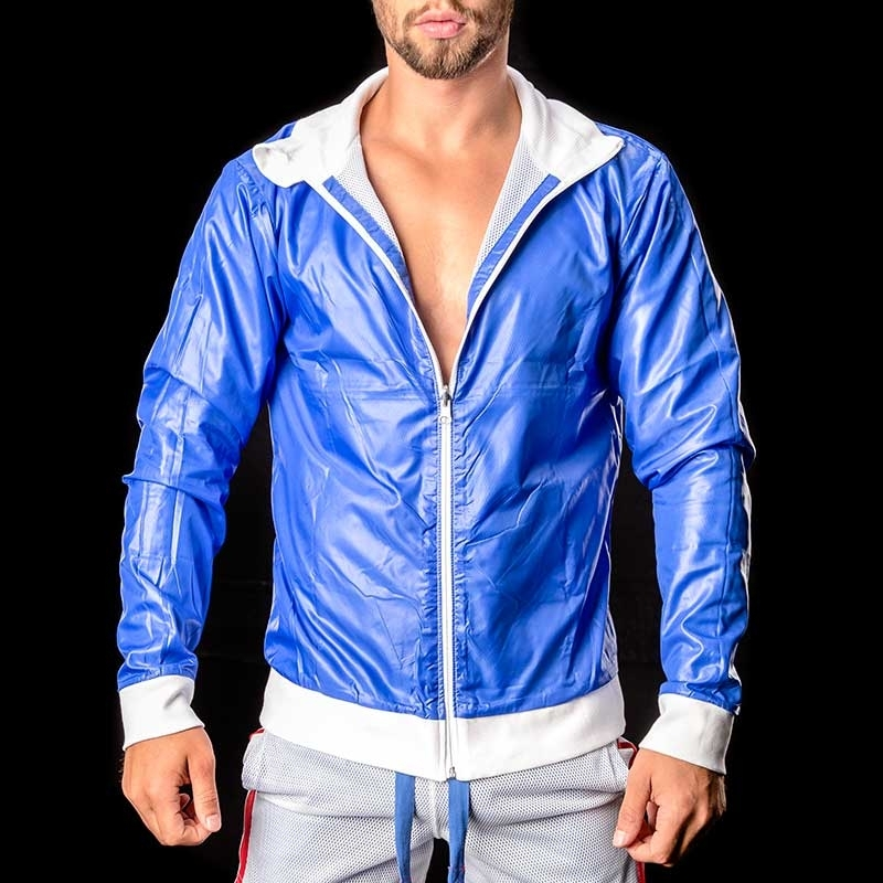 BARCODE Berlin pvc JACKE WET-MESH Double Face Ivo blue-white