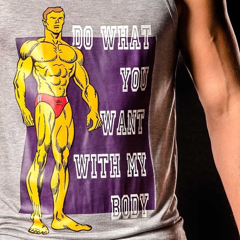 KETTE Berlin TANK Top cover -Do what you want with my body- hellgrau