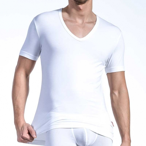 OLAF Benz T-SHIRT v-neck-low RED1203 home muskel white