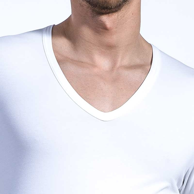 OLAF Benz T-SHIRT v-neck-low RED1203 home muscle white